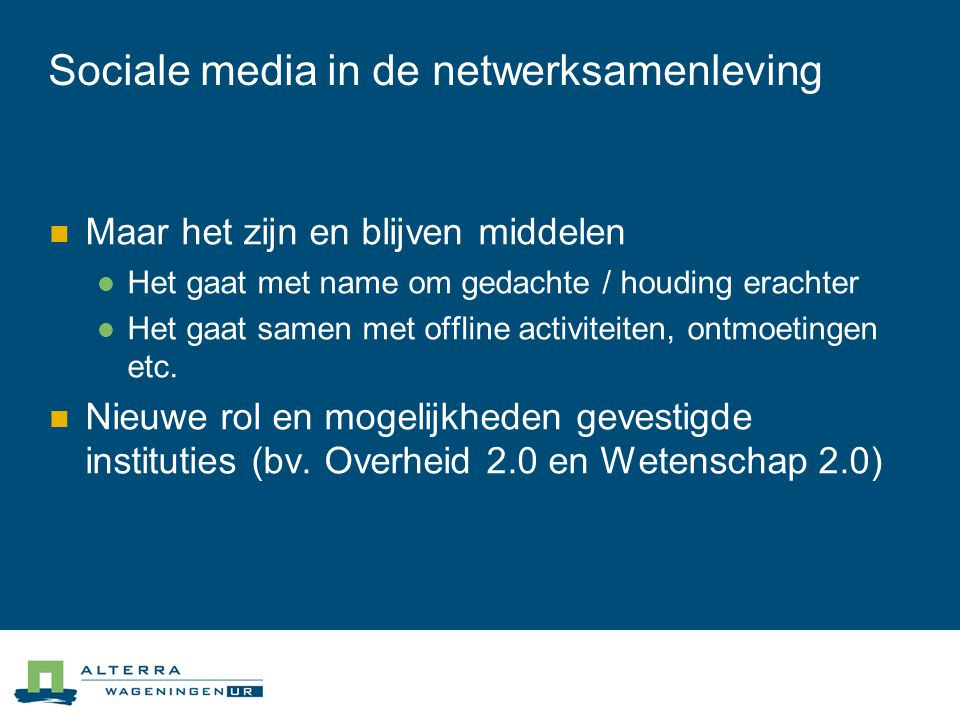 Sociale media in de netwerksamenleving
