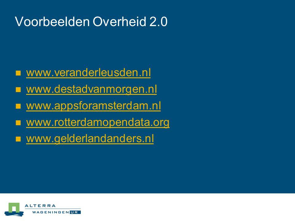 Voorbeelden Overheid 2.0 www.veranderleusden.nl www.destadvanmorgen.nl
