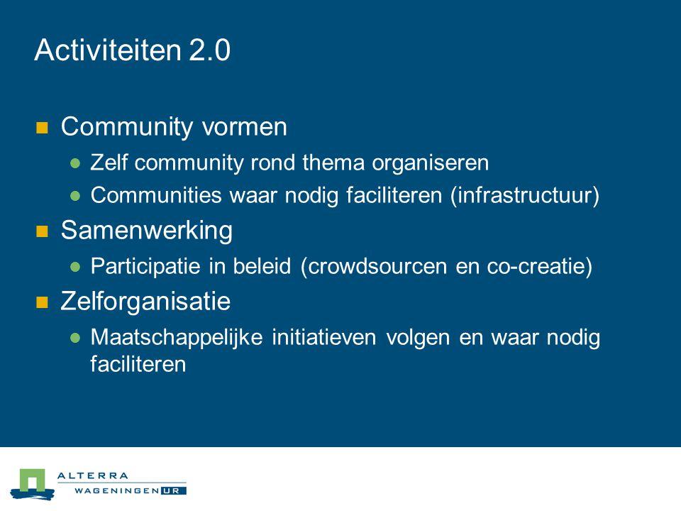 Activiteiten 2.0 Community vormen Samenwerking Zelforganisatie