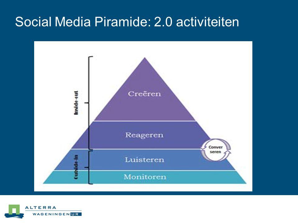 Social Media Piramide: 2.0 activiteiten