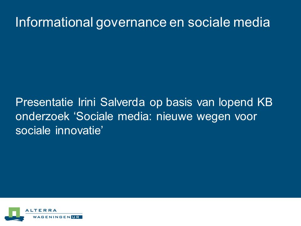 Informational governance en sociale media