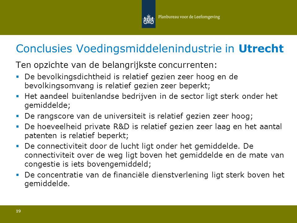 Conclusies Voedingsmiddelenindustrie in Utrecht