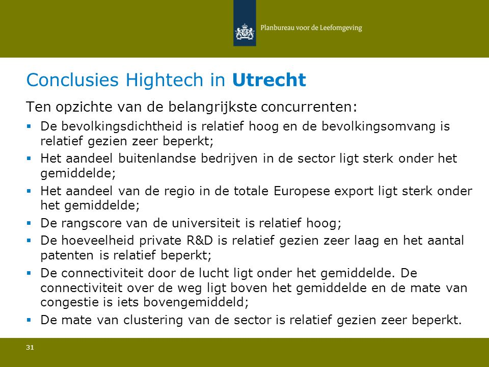 Conclusies Hightech in Utrecht