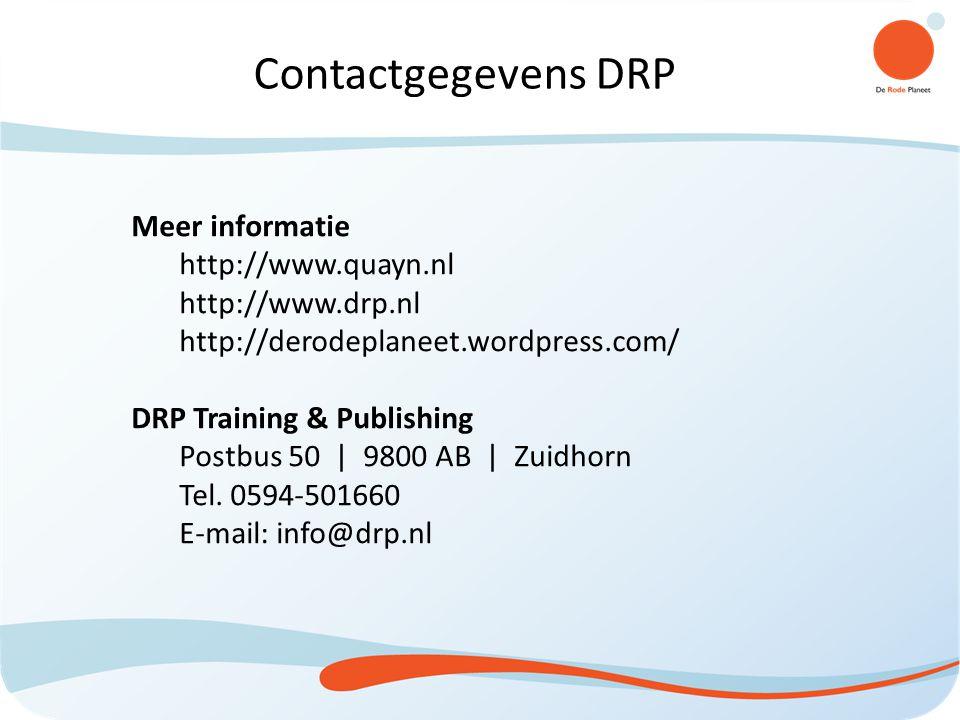 Contactgegevens DRP Meer informatie http://www.quayn.nl