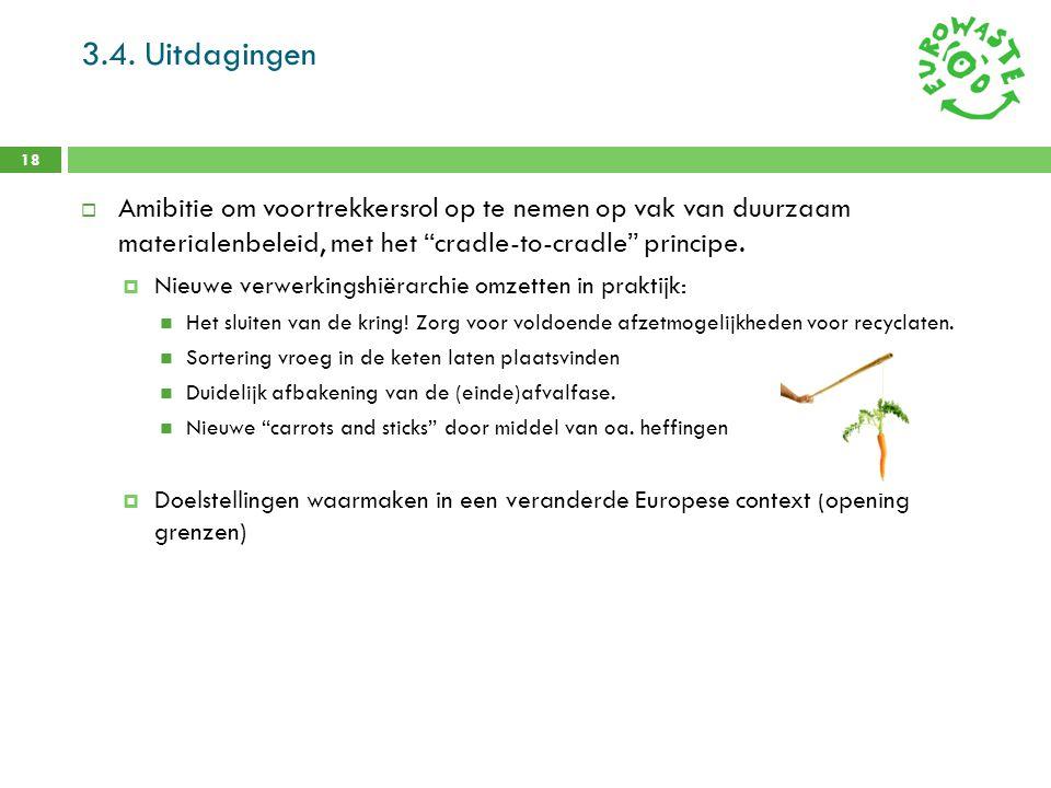 3.4. Uitdagingen Amibitie om voortrekkersrol op te nemen op vak van duurzaam materialenbeleid, met het cradle-to-cradle principe.