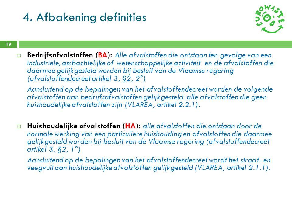 4. Afbakening definities