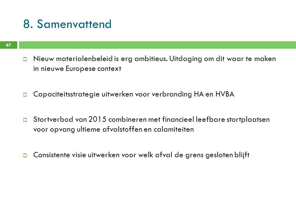 8. Samenvattend Nieuw materialenbeleid is erg ambitieus. Uitdaging om dit waar te maken in nieuwe Europese context.