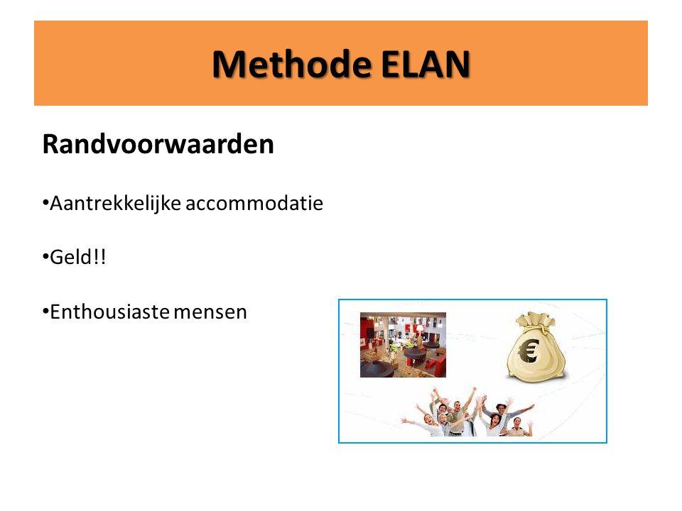 Methode ELAN Randvoorwaarden Aantrekkelijke accommodatie Geld!!