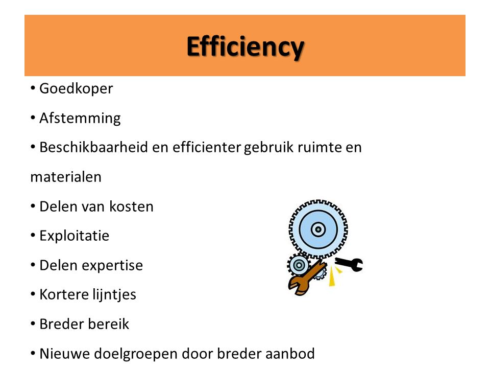 Efficiency Goedkoper Afstemming
