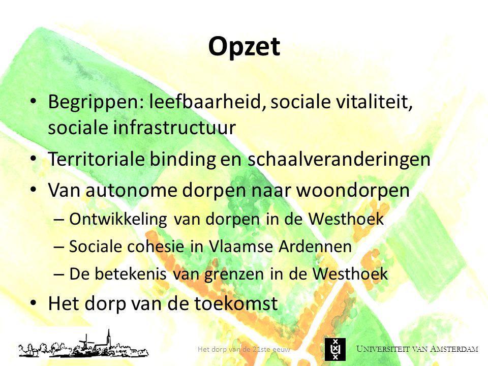 Opzet Begrippen: leefbaarheid, sociale vitaliteit, sociale infrastructuur. Territoriale binding en schaalveranderingen.