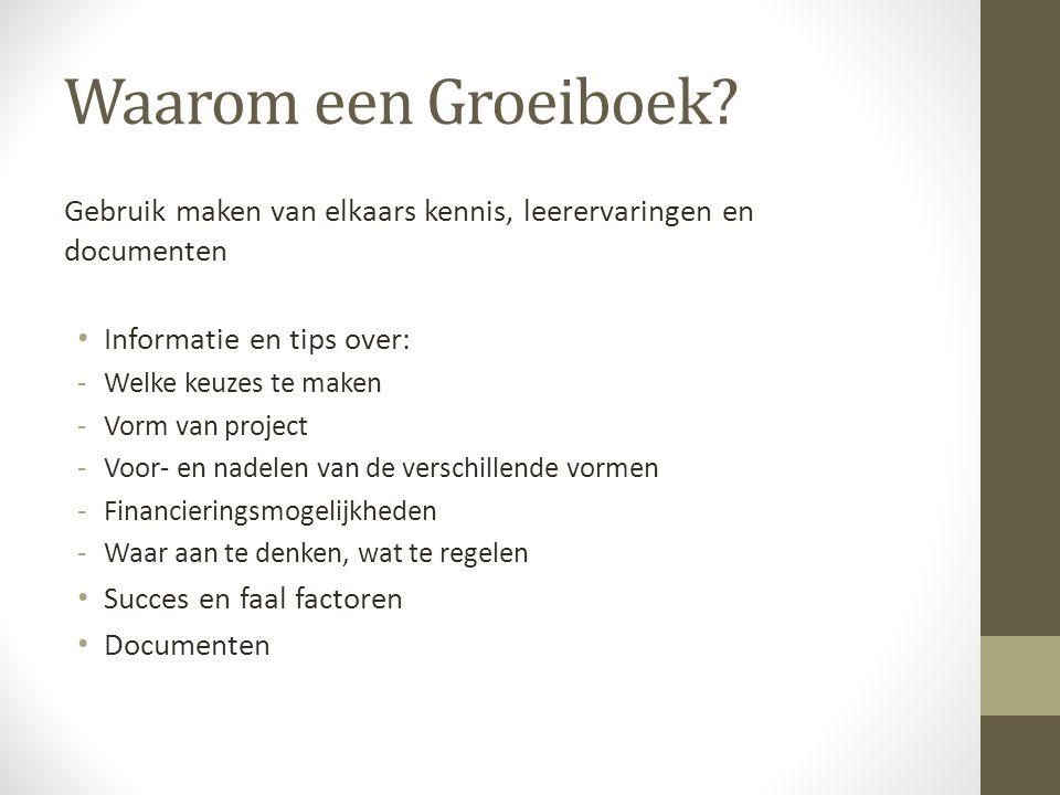 Waarom een Groeiboek Gebruik maken van elkaars kennis, leerervaringen en documenten. Informatie en tips over: