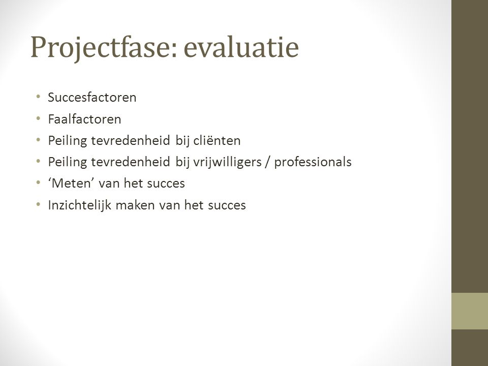 Projectfase: evaluatie