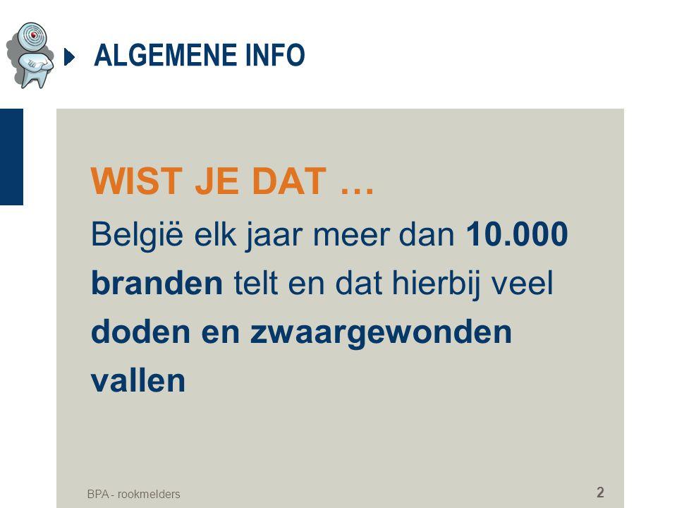 ALGEMENE INFO WIST JE DAT … België elk jaar meer dan 10.000 branden telt en dat hierbij veel doden en zwaargewonden vallen.
