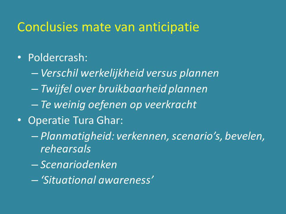 Conclusies mate van anticipatie