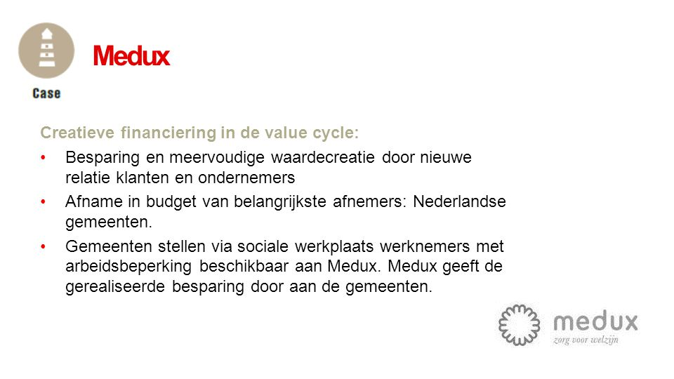 Medux Creatieve financiering in de value cycle: