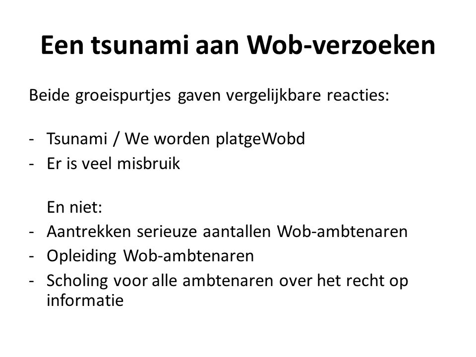 Een tsunami aan Wob-verzoeken