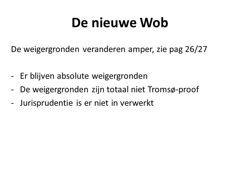 De nieuwe Wob De weigergronden veranderen amper, zie pag 26/27