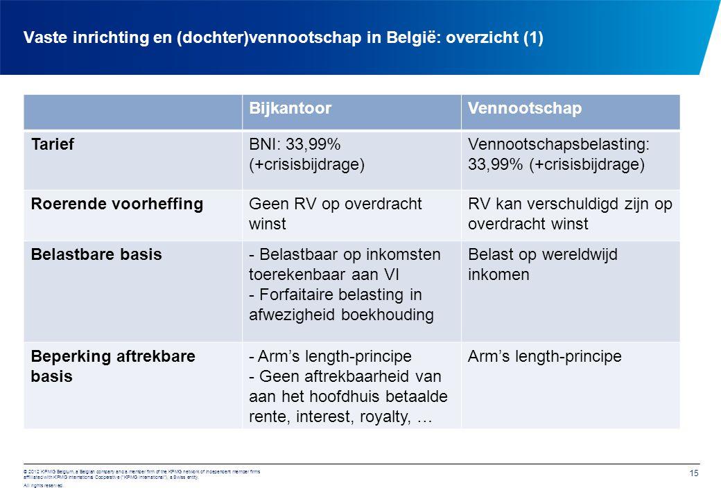 Vaste inrichting en (dochter)vennootschap in België: overzicht (2)