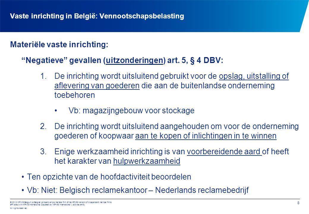 Vaste inrichting in België: Vennootschapsbelasting