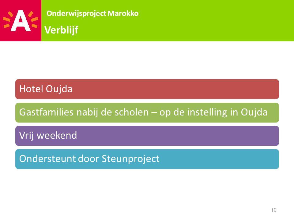 Verblijf Onderwijsproject Marokko. Hotel Oujda. Gastfamilies nabij de scholen – op de instelling in Oujda.
