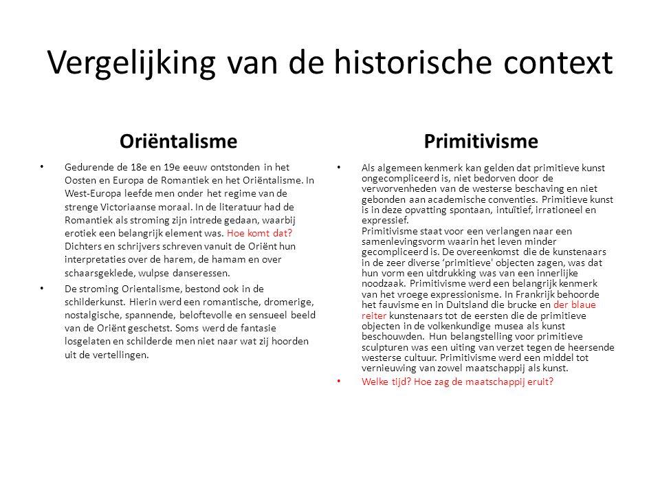 Vergelijking van de historische context
