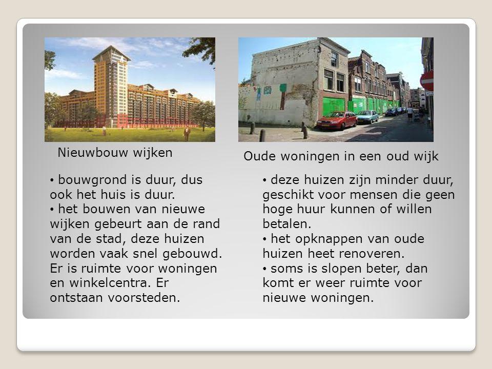 Nieuwbouw wijken Oude woningen in een oud wijk. bouwgrond is duur, dus ook het huis is duur.