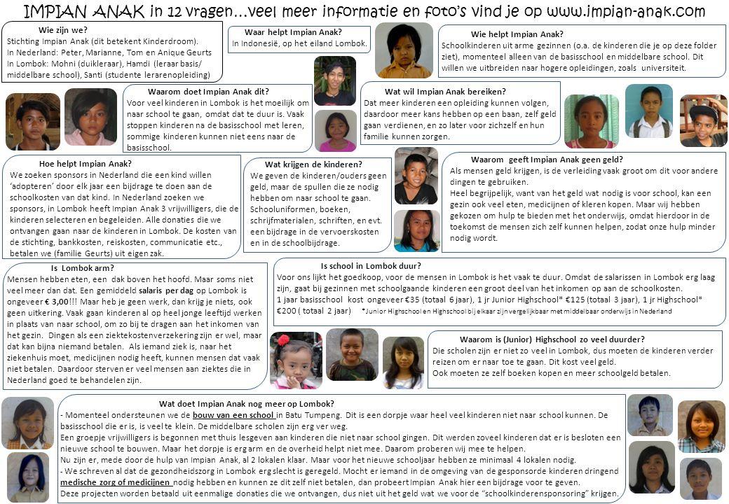 IMPIAN ANAK in 12 vragen…veel meer informatie en foto's vind je op www