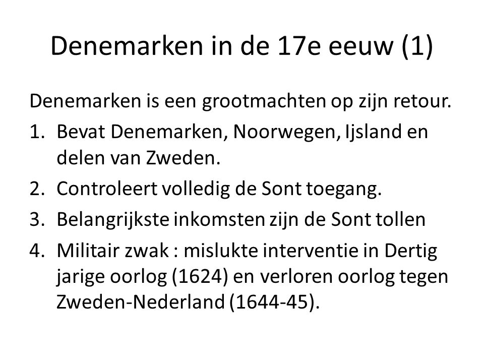 Denemarken in de 17e eeuw (1)