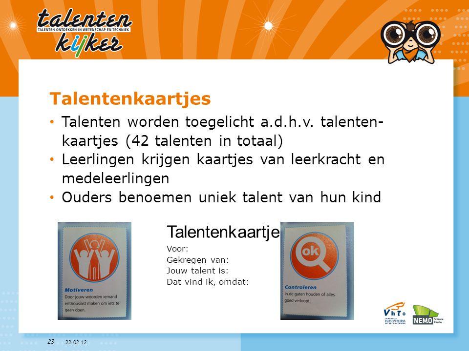Talentenkaartjes Talentenkaartje
