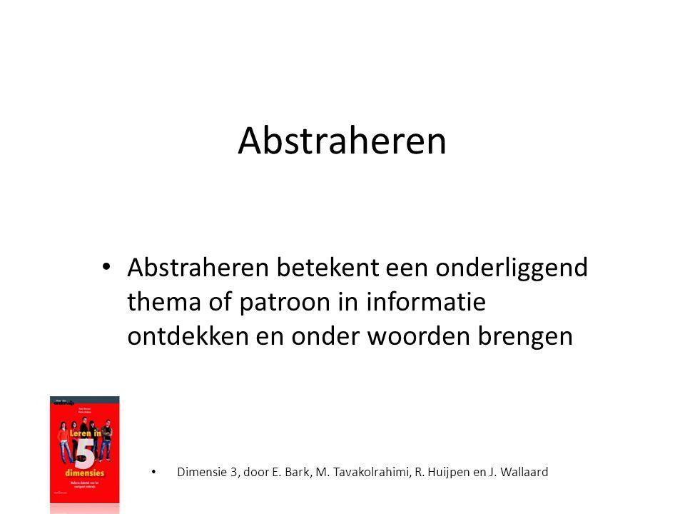 Abstraheren Abstraheren betekent een onderliggend thema of patroon in informatie ontdekken en onder woorden brengen.