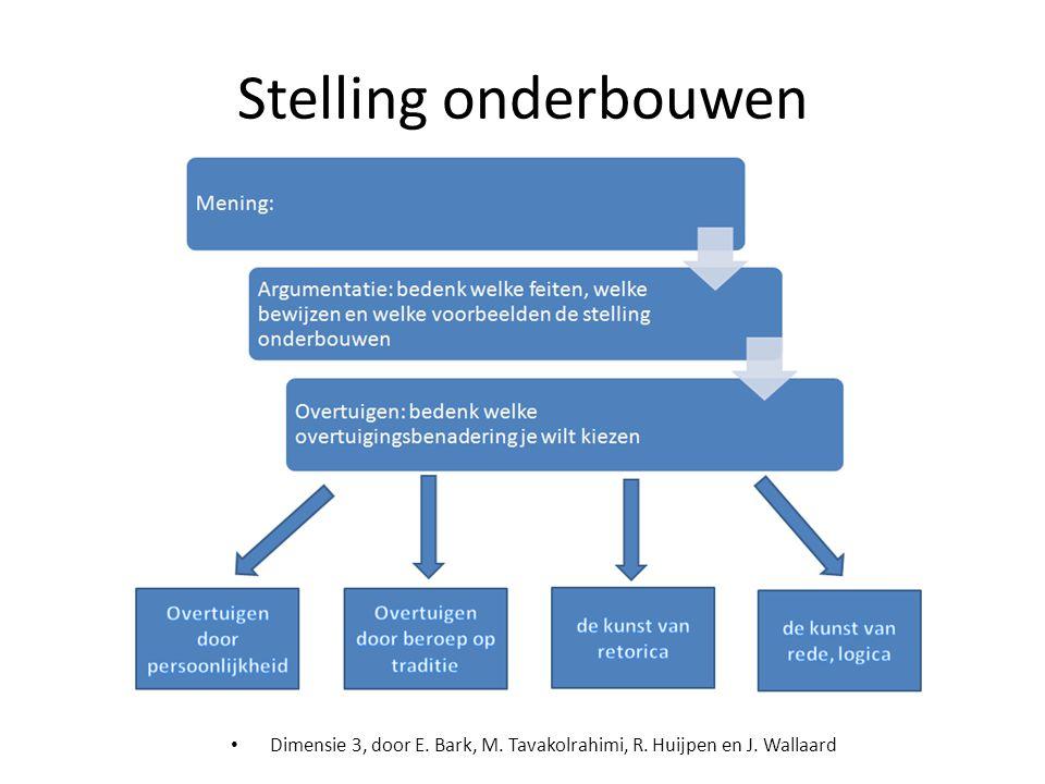 Stelling onderbouwen Dimensie 3, door E. Bark, M. Tavakolrahimi, R. Huijpen en J. Wallaard