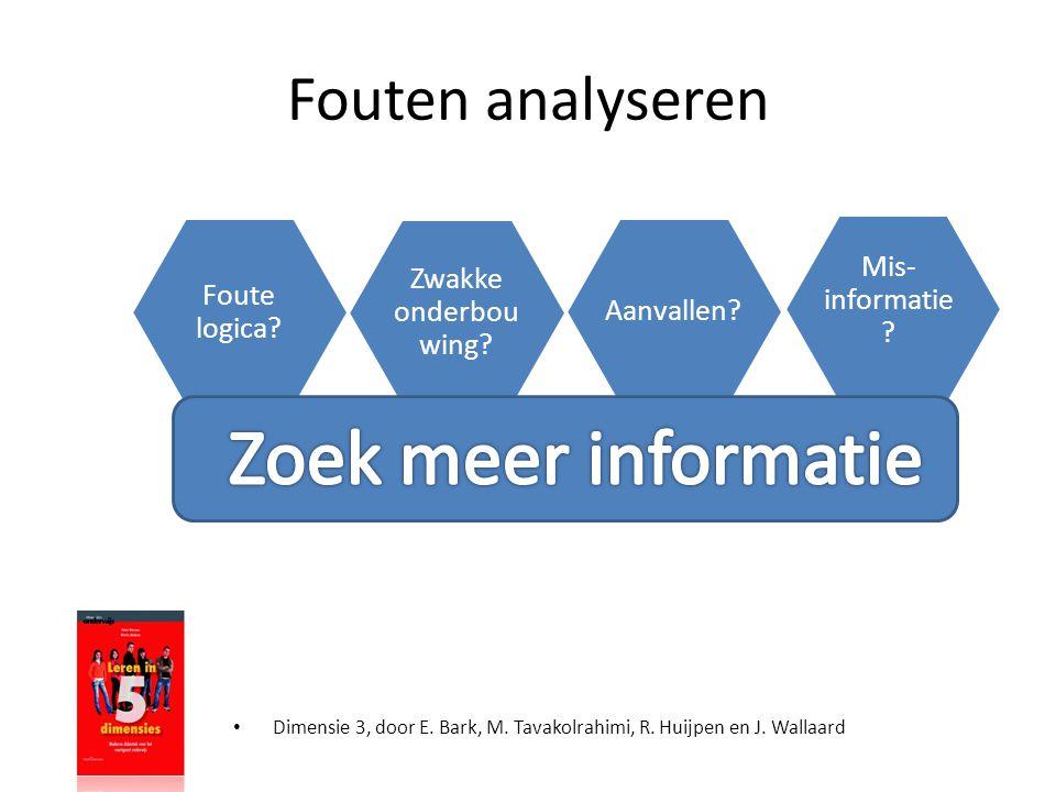 Zoek meer informatie Fouten analyseren Mis-informatie