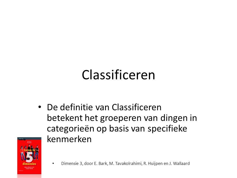 Classificeren De definitie van Classificeren betekent het groeperen van dingen in categorieën op basis van specifieke kenmerken.