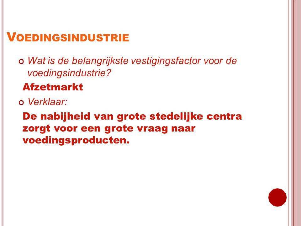 Voedingsindustrie Wat is de belangrijkste vestigingsfactor voor de voedingsindustrie Afzetmarkt.