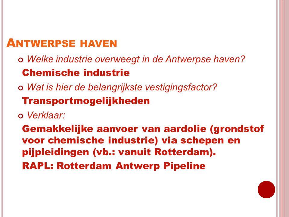 Antwerpse haven Welke industrie overweegt in de Antwerpse haven