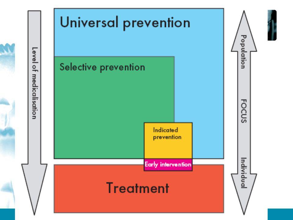 Universele preventie gericht op algemene bevolking of deelpopulatie die niet
