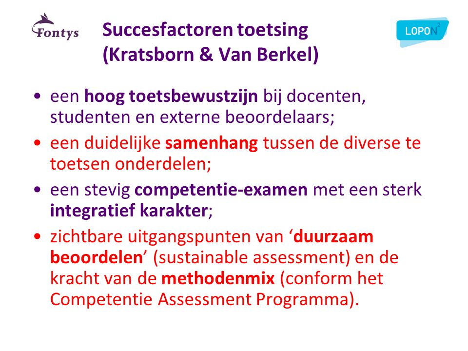 Succesfactoren toetsing (Kratsborn & Van Berkel)
