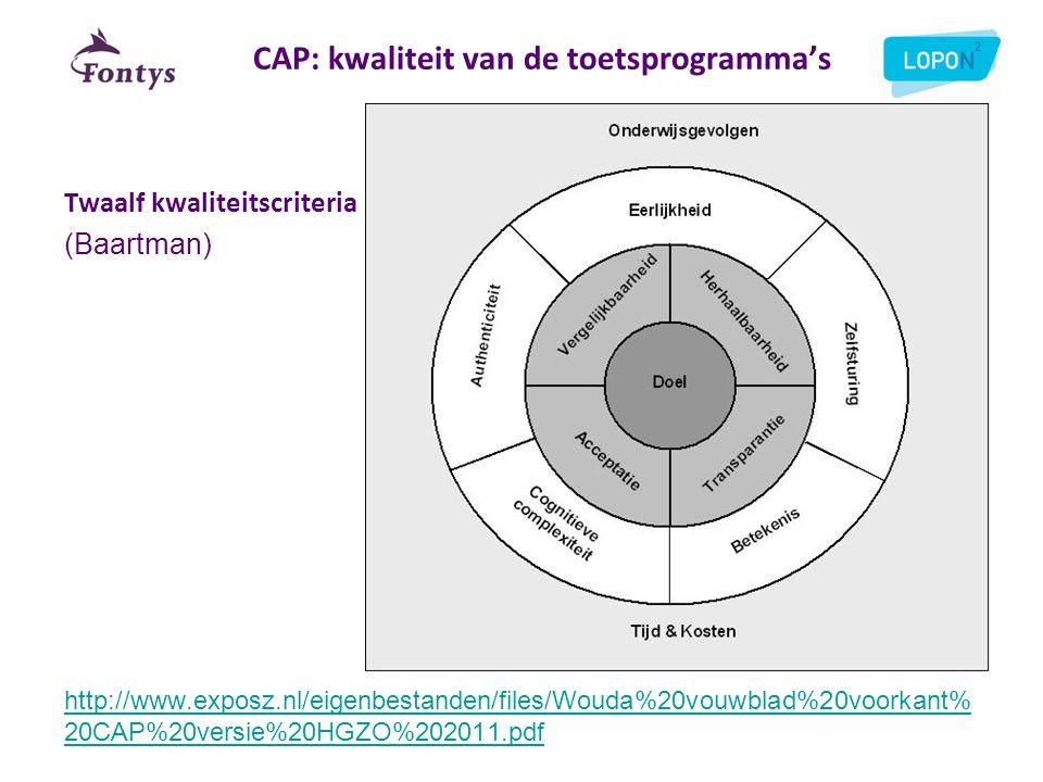 CAP: kwaliteit van de toetsprogramma's