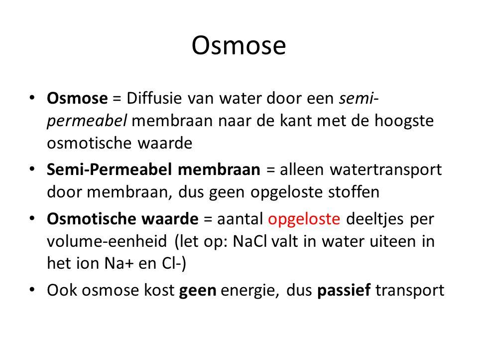 Osmose Osmose = Diffusie van water door een semi-permeabel membraan naar de kant met de hoogste osmotische waarde.