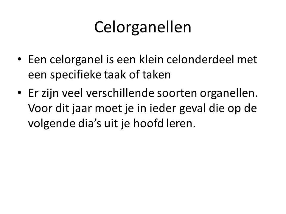 Celorganellen Een celorganel is een klein celonderdeel met een specifieke taak of taken.