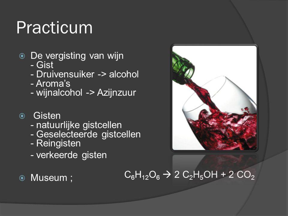 Practicum De vergisting van wijn - Gist - Druivensuiker -> alcohol - Aroma's - wijnalcohol -> Azijnzuur.