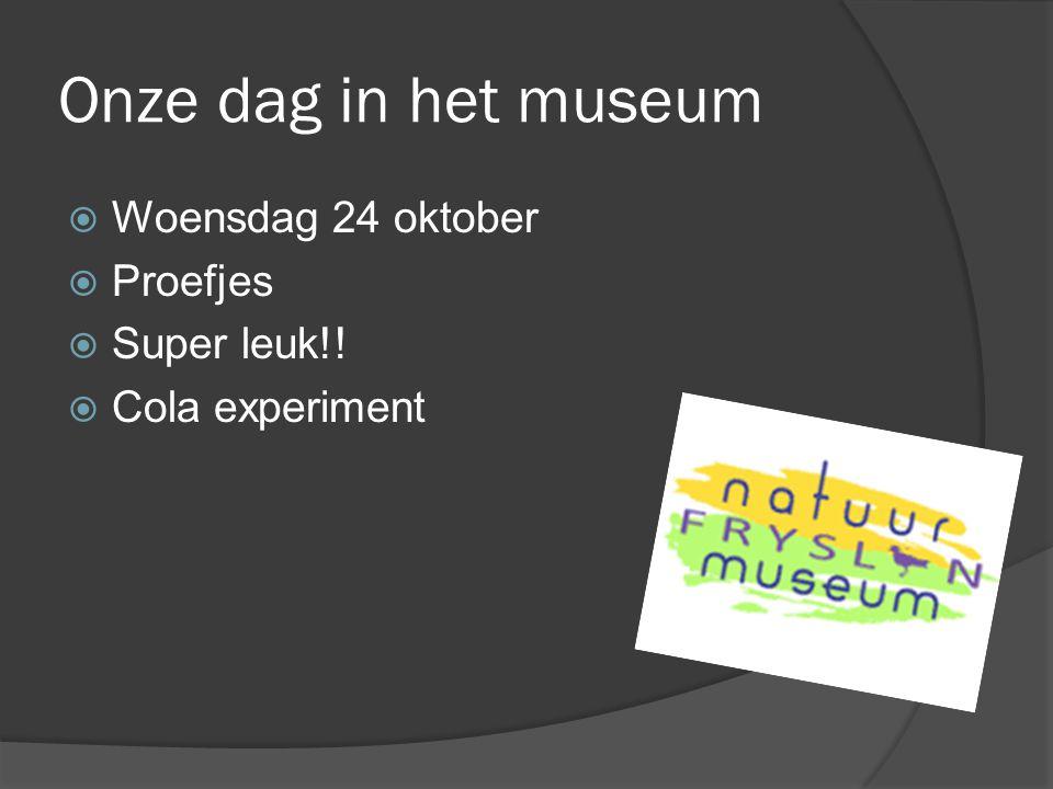 Onze dag in het museum Woensdag 24 oktober Proefjes Super leuk!!