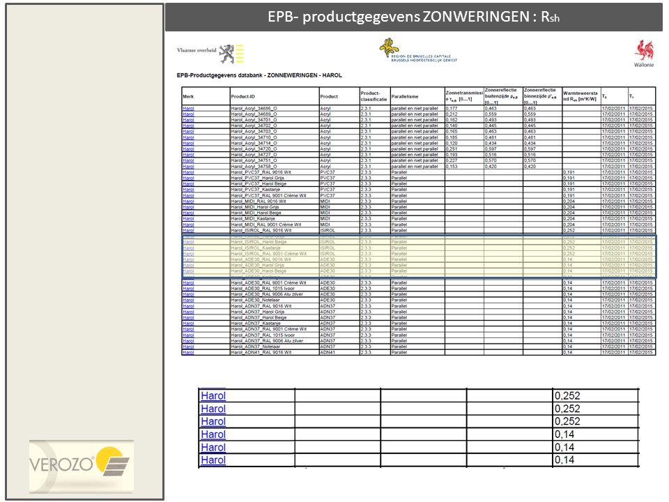 EPB- productgegevens ZONWERINGEN : Rsh