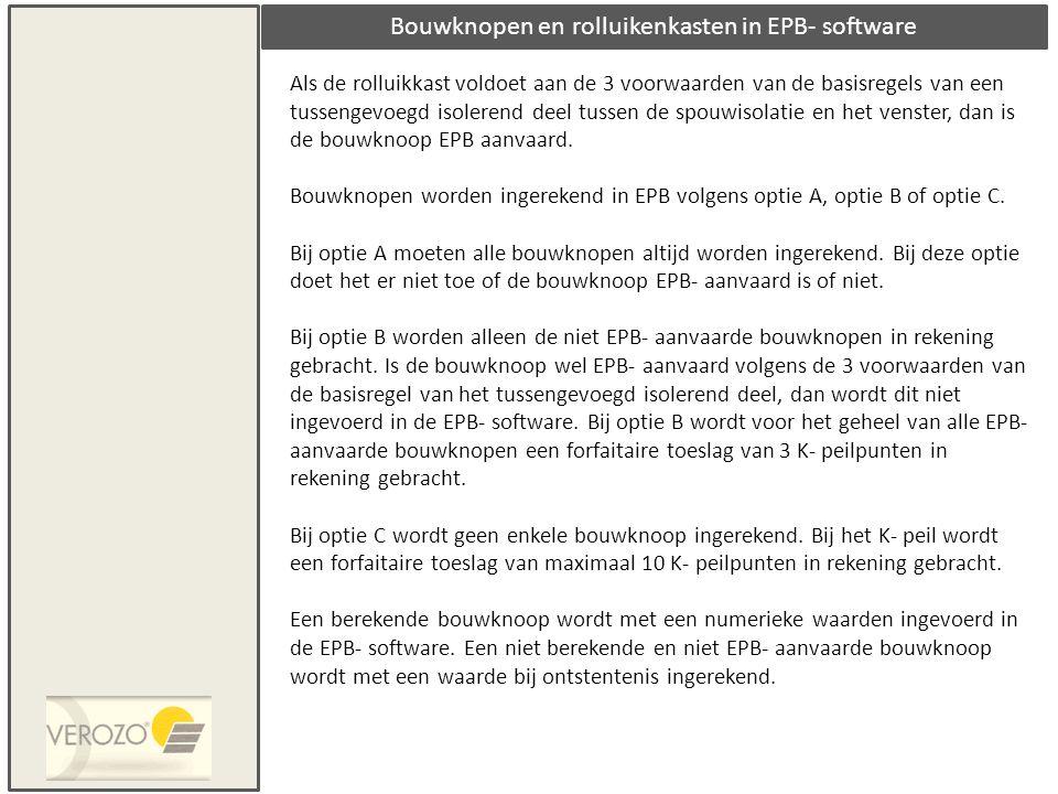 Bouwknopen en rolluikenkasten in EPB- software
