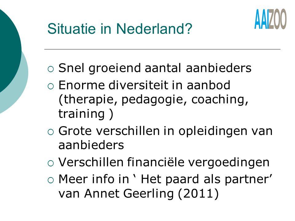 Situatie in Nederland Snel groeiend aantal aanbieders