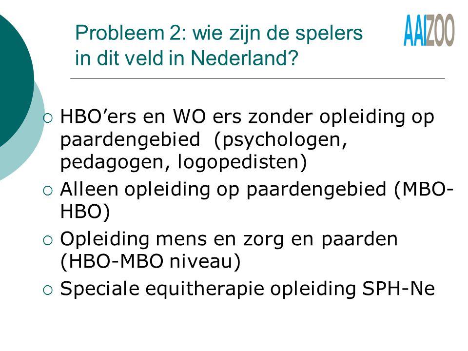 Probleem 2: wie zijn de spelers in dit veld in Nederland