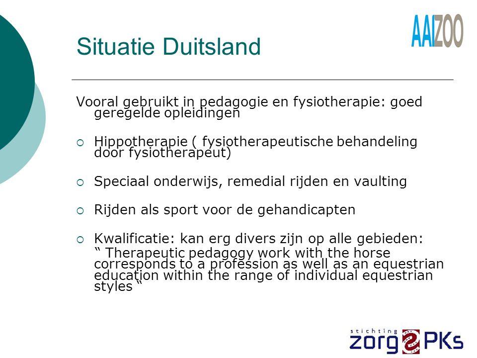 Situatie Duitsland Vooral gebruikt in pedagogie en fysiotherapie: goed geregelde opleidingen.