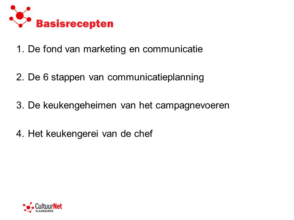 Basisrecepten De fond van marketing en communicatie