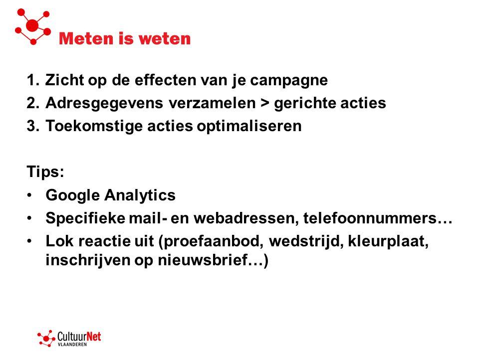 Meten is weten Zicht op de effecten van je campagne