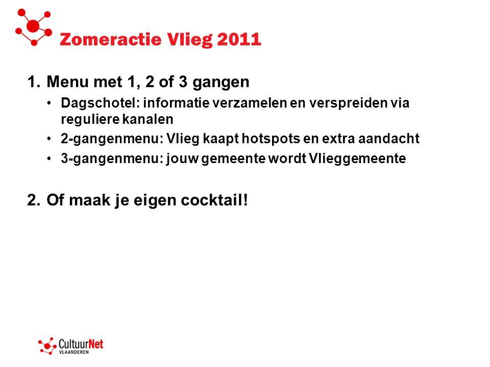 Zomeractie Vlieg 2011 Menu met 1, 2 of 3 gangen